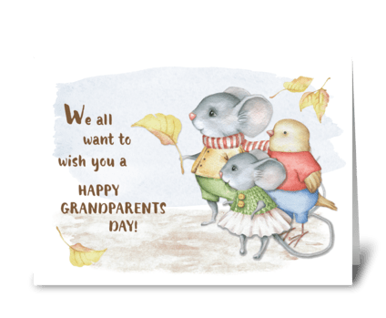 Mice & Bird Grandparents Day from Group greeting card