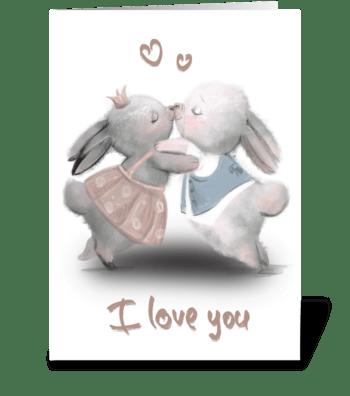 Bunny's love greeting card