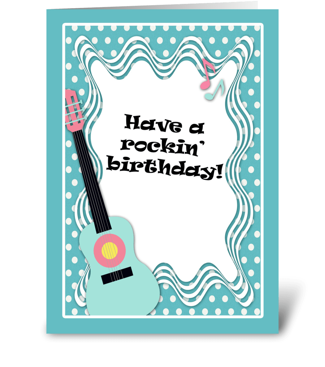 Blue Guitar Polka Dot Birthday Card