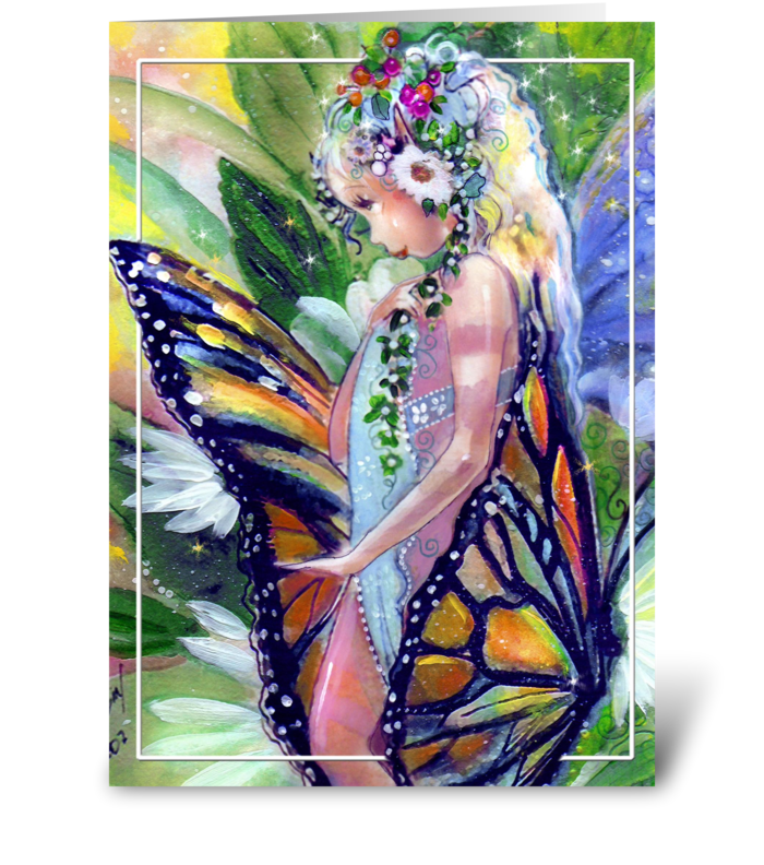 Pretty Fairy & Butterfly greeting card
