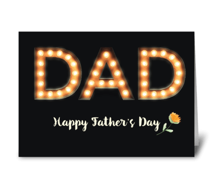 Dad, Father's Day, Marquee Light Bulb greeting card