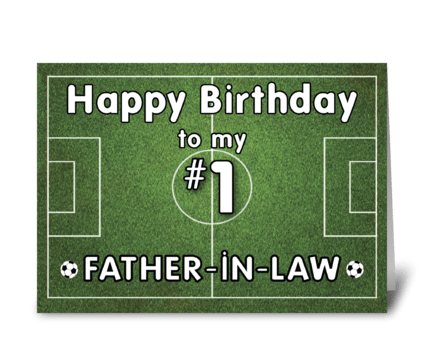 Father-in-Law Soccer Birthday with Grass greeting card