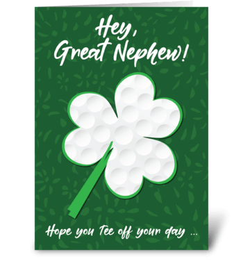 Great Nephew Golf Sports St. Patrick's greeting card