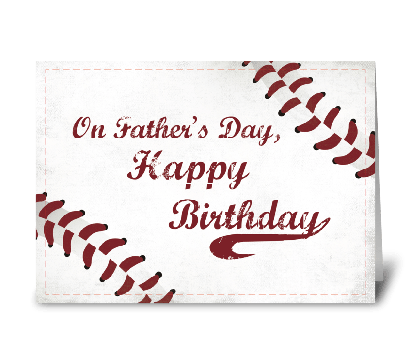 Father's Day Birthday Grunge Baseball greeting card