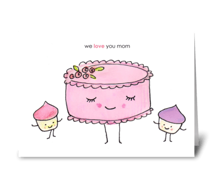 A Cake and Her Cupcakes greeting card