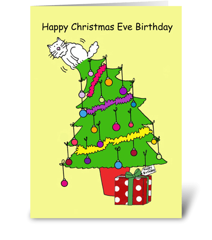 Christmas Eve Birthday, Cartoon Cat. greeting card