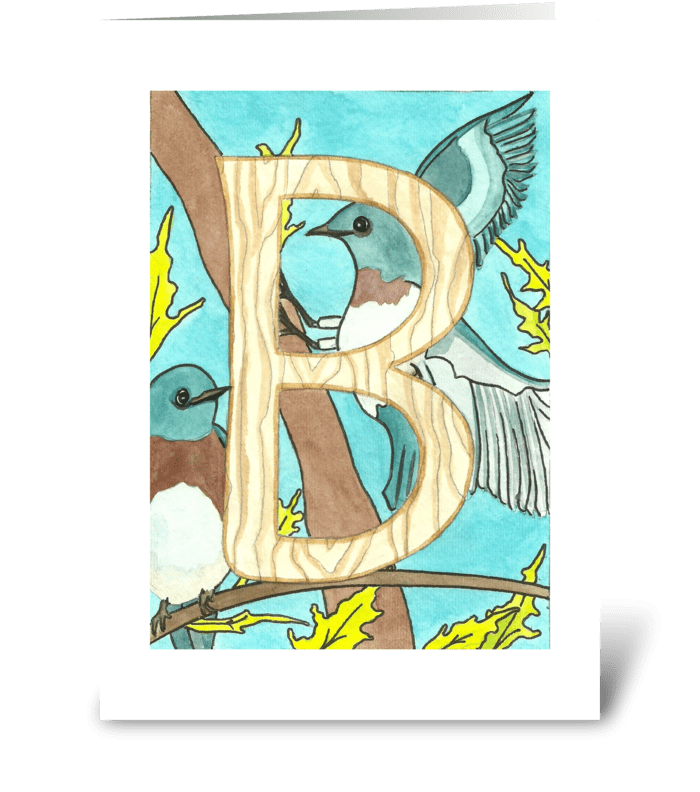 B for Blue Jay greeting card