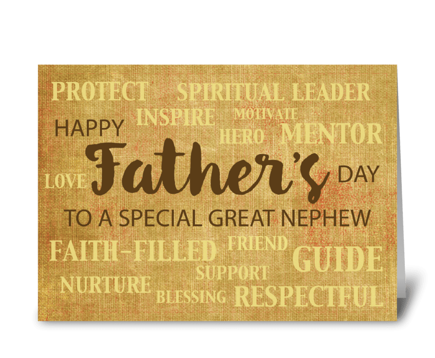Great Nephew Religious Father's Day greeting card