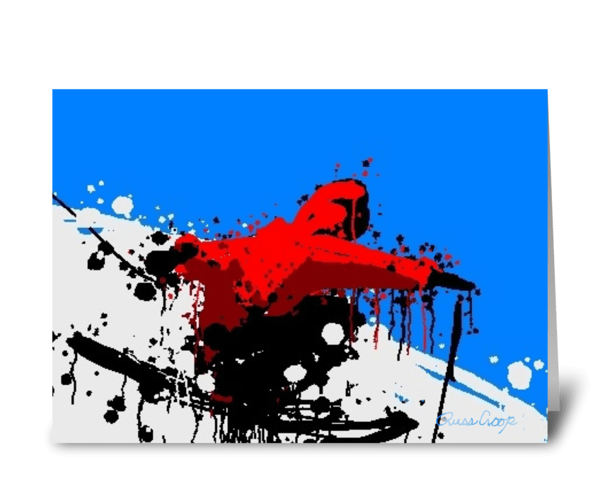 Red Skier greeting card