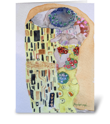 The Kiss: A Tribute to Klimt Romance greeting card