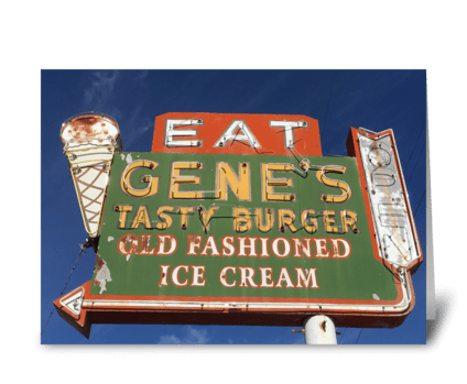 Gene's Tasty Burger greeting card