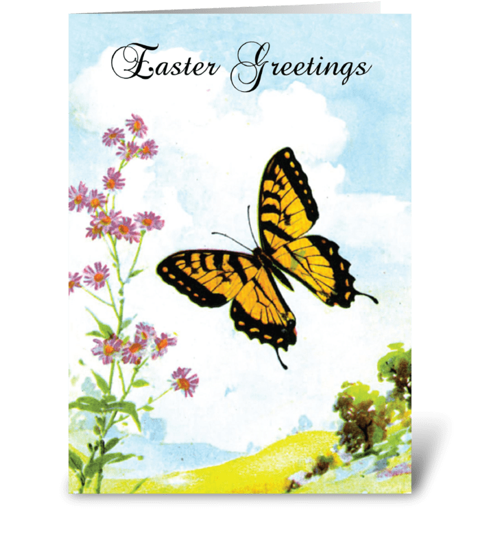 Easter Butterfly Flowers greeting card