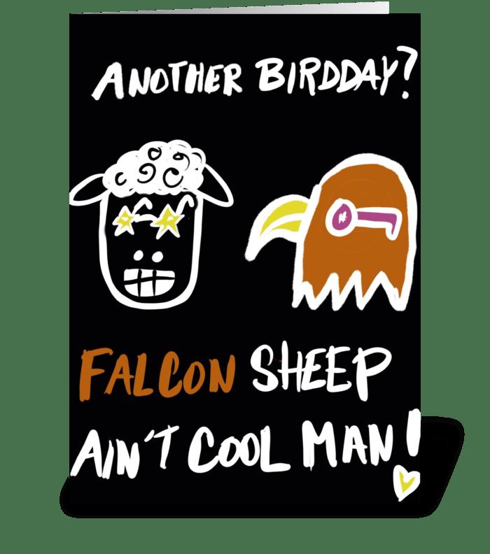 Falcon Sheep Ain't Cool greeting card