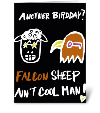 Falcon Sheep Ain't Cool greeting card