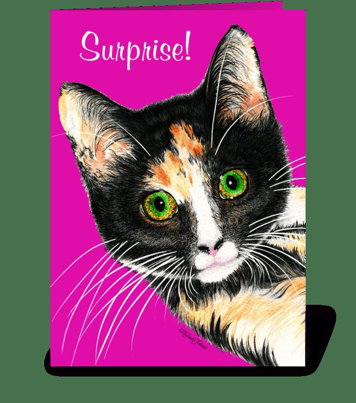 Surprise Kitty greeting card