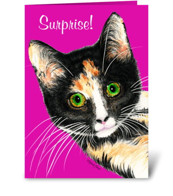 Surprise Kitty greeting card