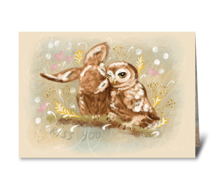 Beautiful cute two owls greeting card