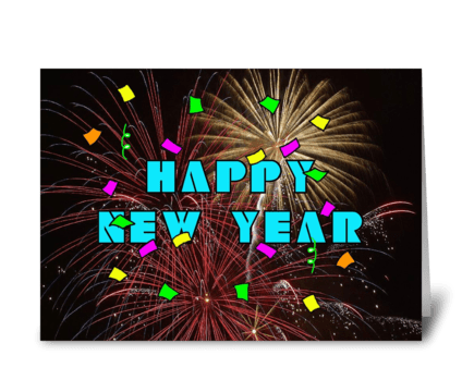 New Year's Celebration With Fireworks greeting card