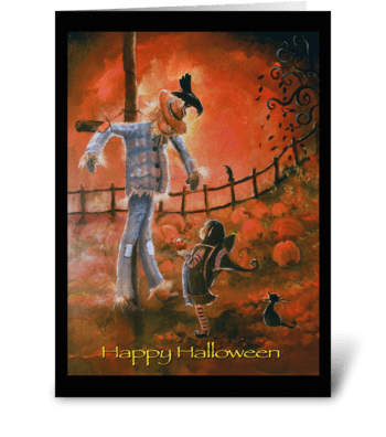 Scarecrow and Witch, Halloween Greeting greeting card