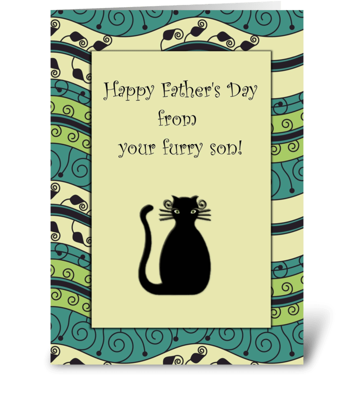 Happy Father's Day Furry Son Cat Card greeting card
