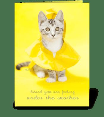 Get Well Raincoat Kitty greeting card