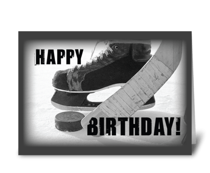 Birthday Hockey Black Skates greeting card