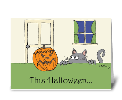 Scaredy Cat Halloween greeting card