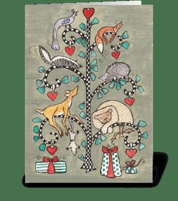 animal christmas tree greeting card