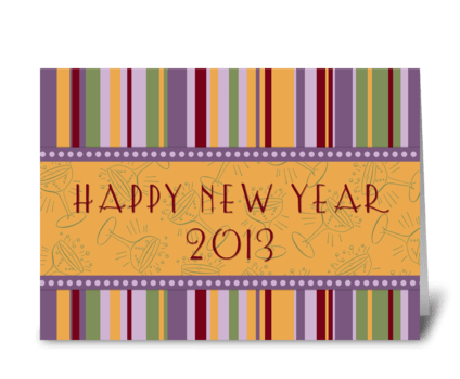 Colorful Stripes Happy New Year 2013 greeting card