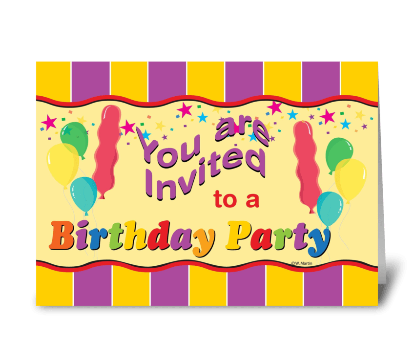 Birthday Balloons Party Invite greeting card