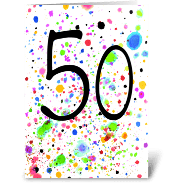 50 card, splash design greeting card