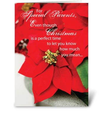Parents Christmas Poinsettia greeting card