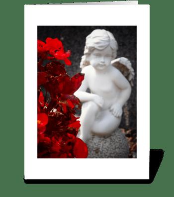 Bokeh begonia angel greeting card