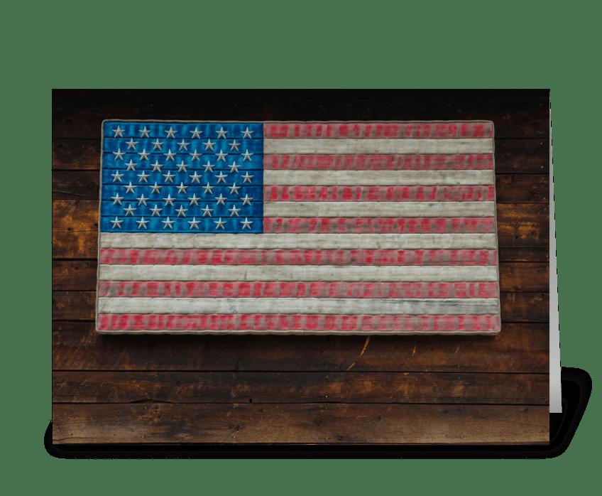 American Flag On A Garage greeting card