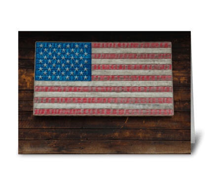 American Flag On A Garage greeting card