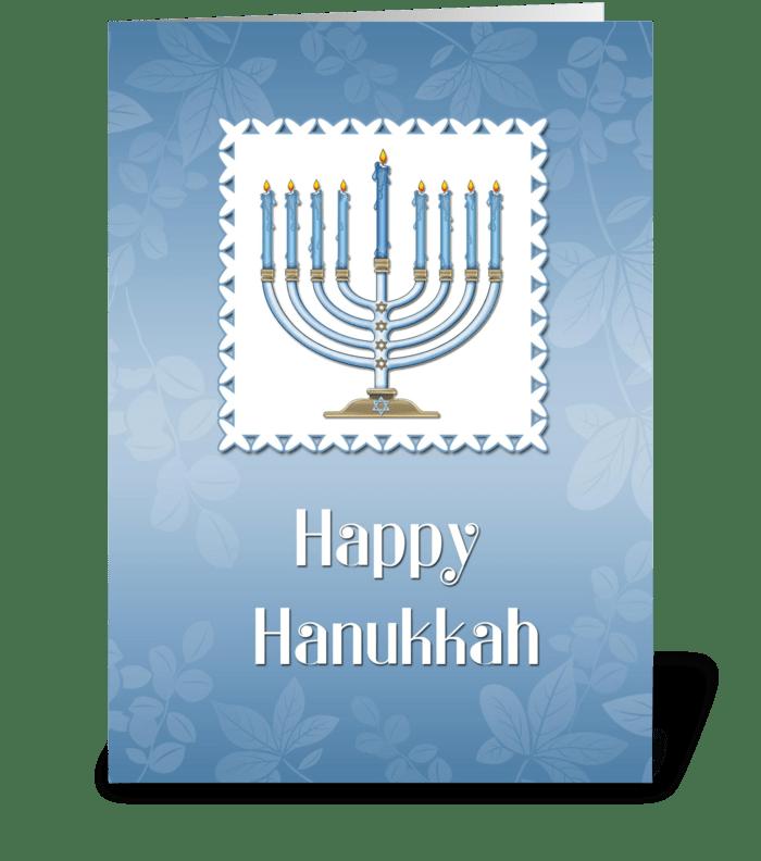 Happy Hanukkah, Blue Menorah greeting card