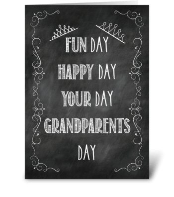 Grandparents Day Chalkboard, Crown greeting card