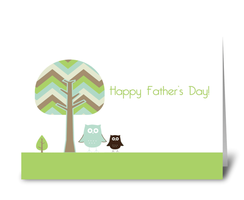 Happy Father's Day Owls greeting card