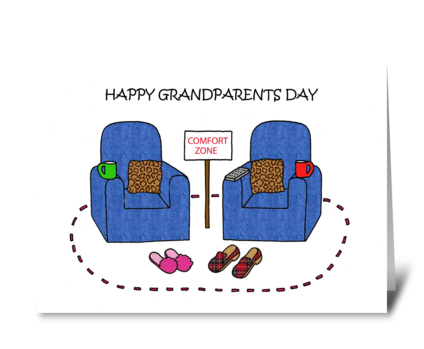 Happy Grandparents Day Covid 19 Cartoon. greeting card