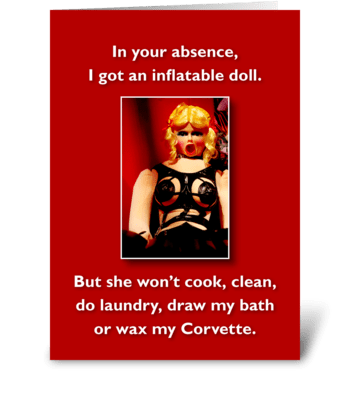 Inflatable Doll greeting card