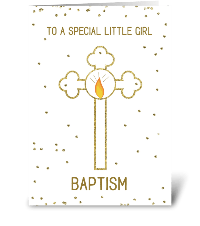 Little Girl Baptism Gold Cross greeting card
