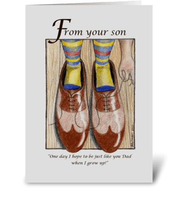 Father's Day Boy in Dad's Shoes greeting card