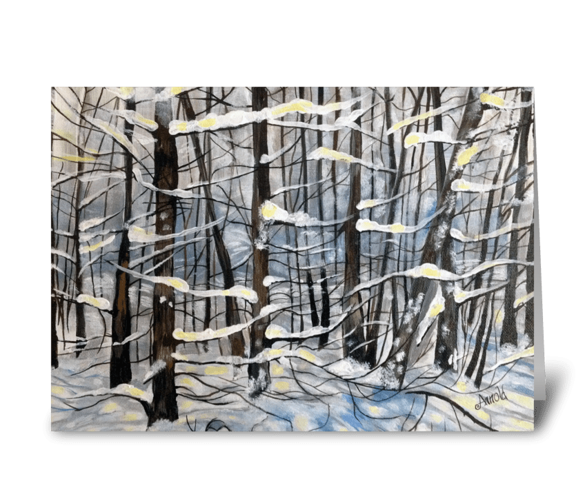 Snow on Pines greeting card
