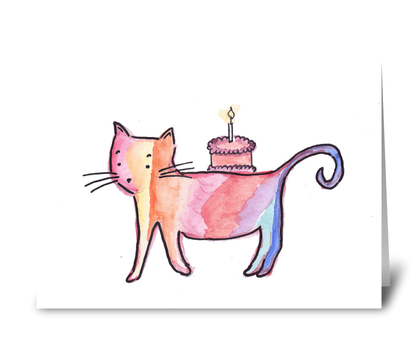 Birthday Cake Cat greeting card