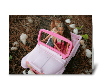 Barbie Jeep Outing greeting card