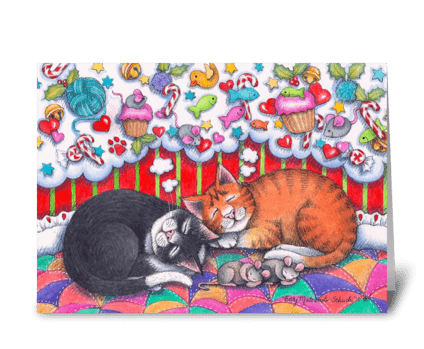 Cats Dreaming Holiday #98 greeting card