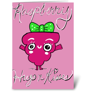 Raspberry Hugs and Kisses greeting card