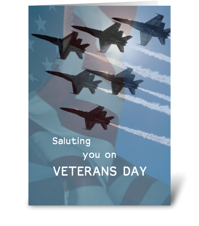 Veterans Day Blue Angels Jets Military greeting card