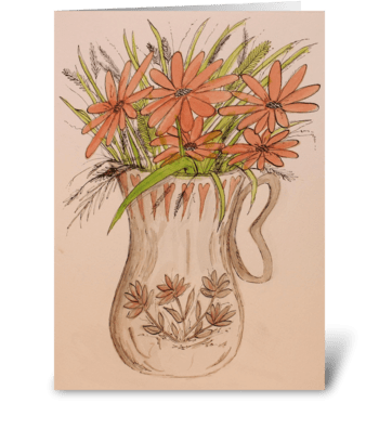 Jug of Flowers greeting card