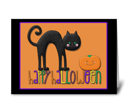 Black Cat, Pumpkin, Happy Halloween  greeting card